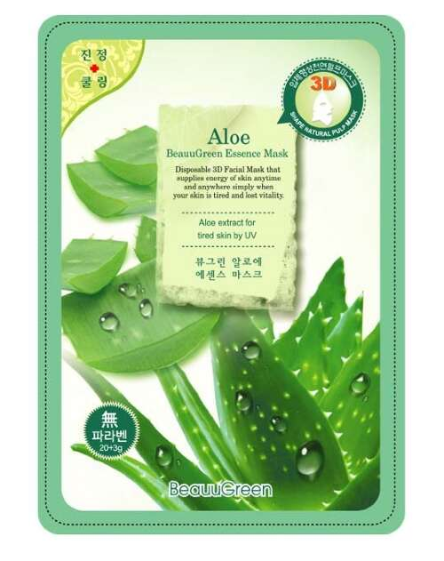 "BEAUUGREEN CONTOUR 3D ALOE ESSENCE MASK МАСКА-САЛФЕТКА Д/ЛИЦА ""АЛОЭ"""