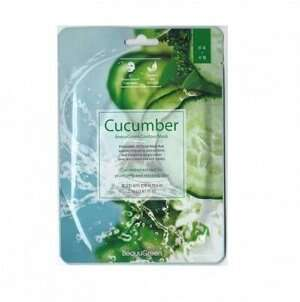 "BEAUUGREEN CONTOUR 3D CUCUMBER ESSENCE MASK МАСКА-САЛФЕТКА Д/ЛИЦА ""ОГУРЕЦ"""