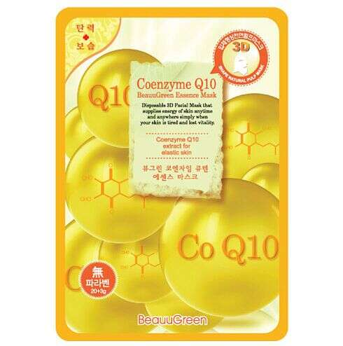 "BEAUUGREEN CONTOUR 3D COENZYM Q10 ESSENCE MASK МАСКА-САЛФЕТКА Д/ЛИЦА ""КОЭНЗИМ Q10"""